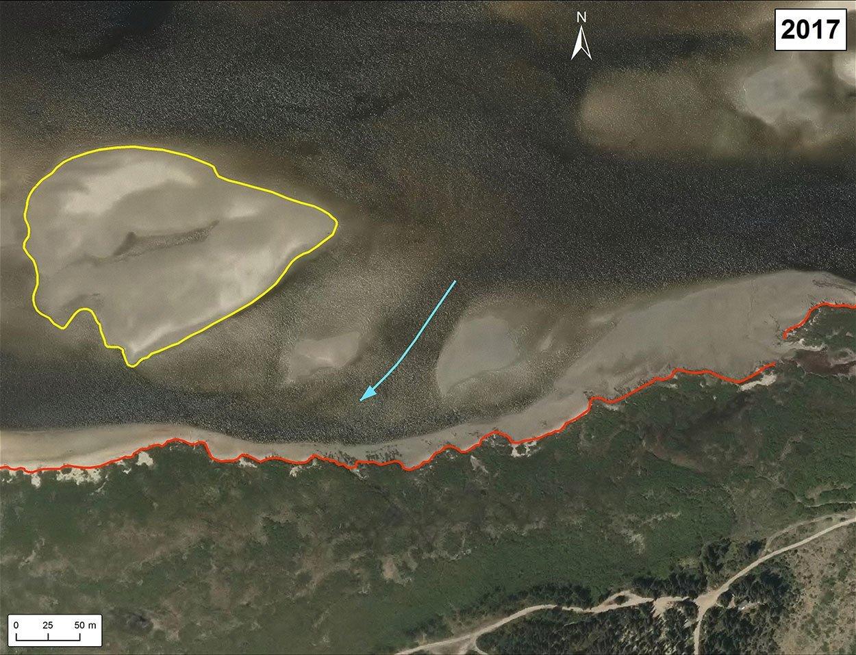 Erosion Chisasibi banc de sable 2017