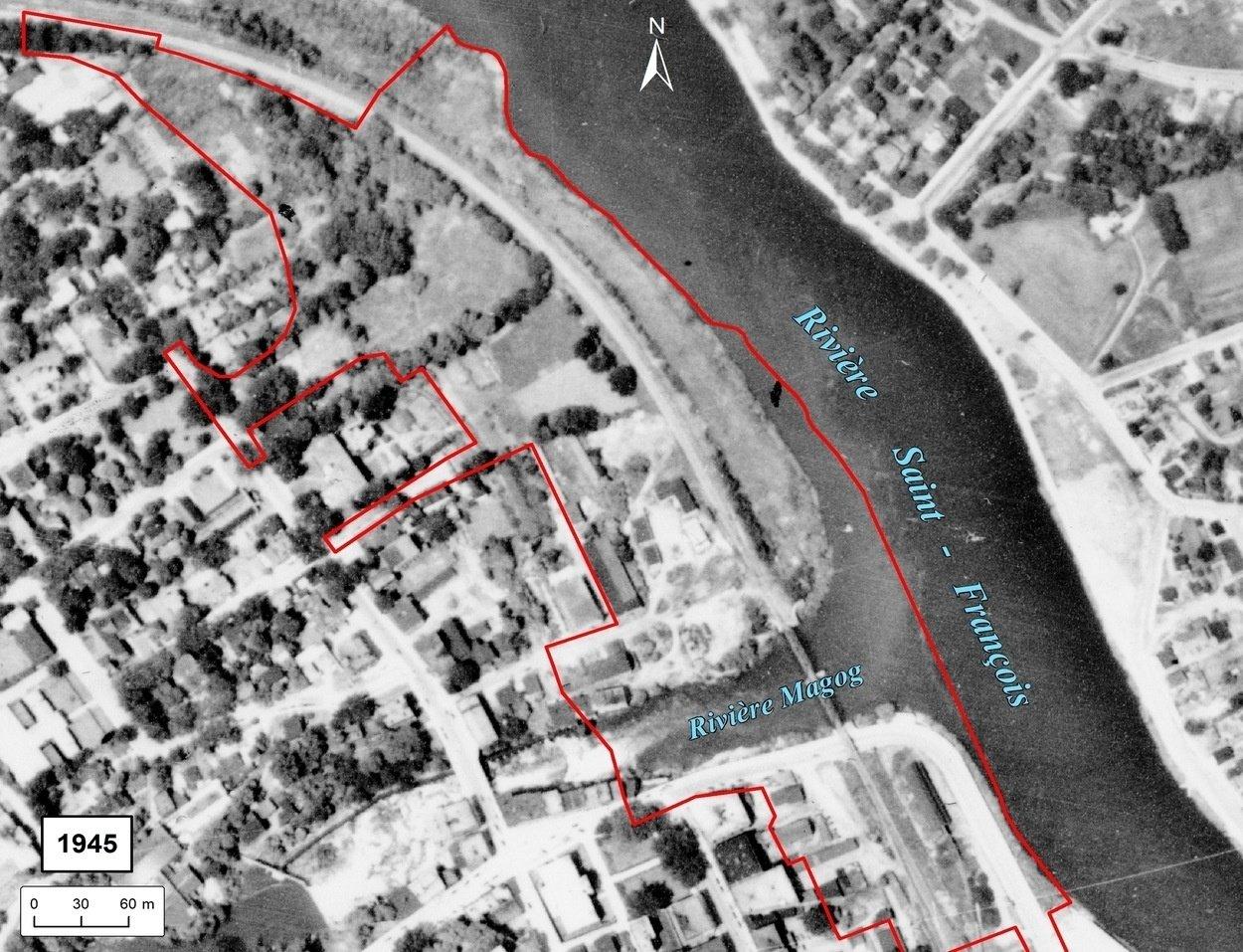 Photo aérienne de la ville de sherbrooke en 1945