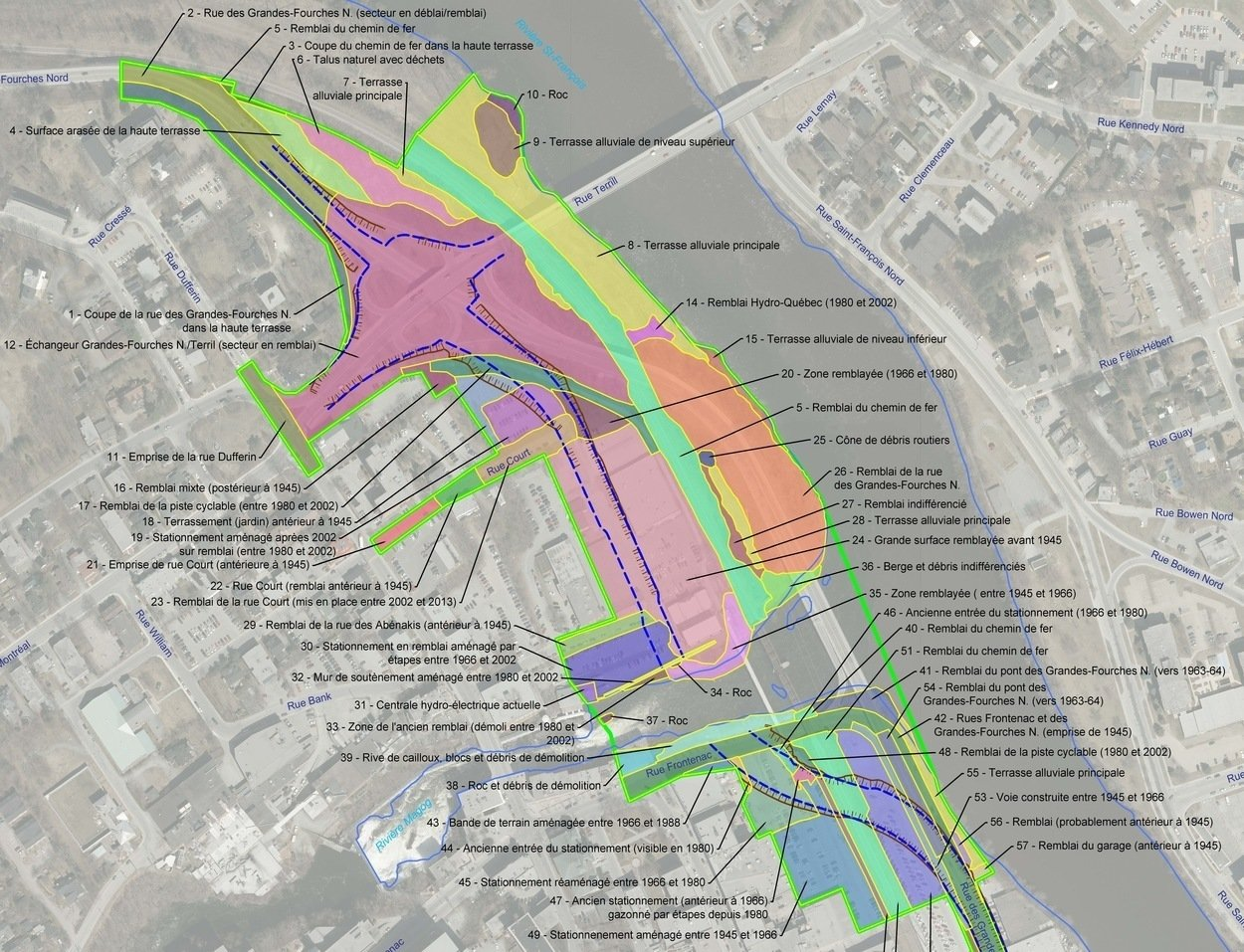 Carte des zones de l'étude pour la géomorphologie dans la ville sherbrooke
